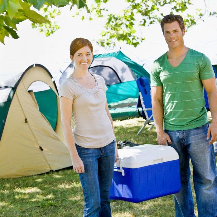 camping tents food cooler