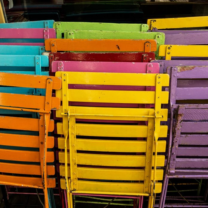 bright multicolored folding chairs