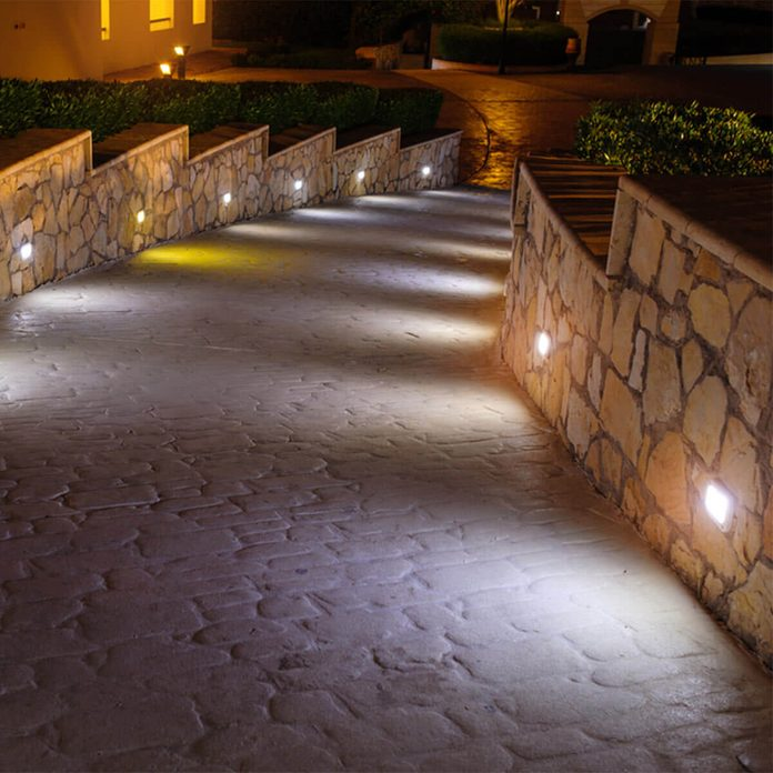 outdoor path lights on a wall