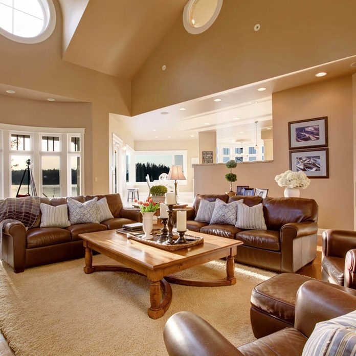 leather couch and chairs living room
