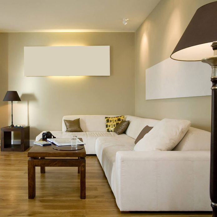 Beige Living Room with White Couch traditional home decor ideas
