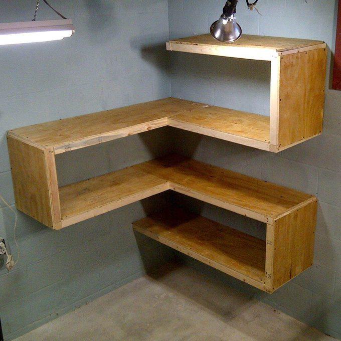 Floating Corner Bookcase Plywood