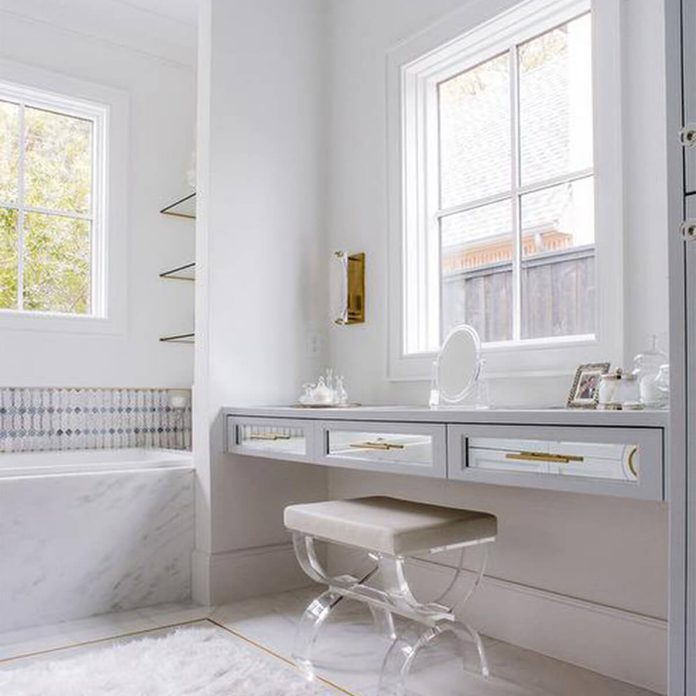 white bathroom make-up vanity