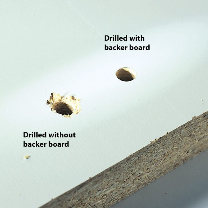 drilled holes with and without backer board