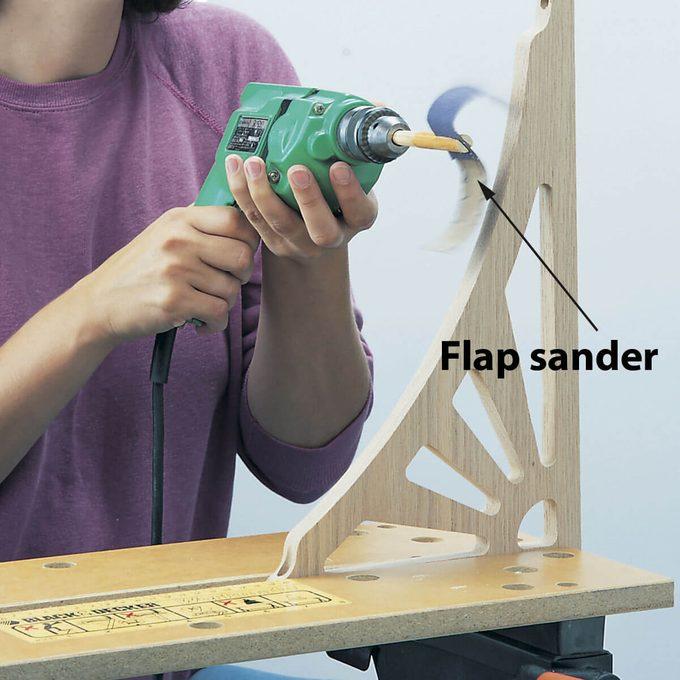 flap sander in action