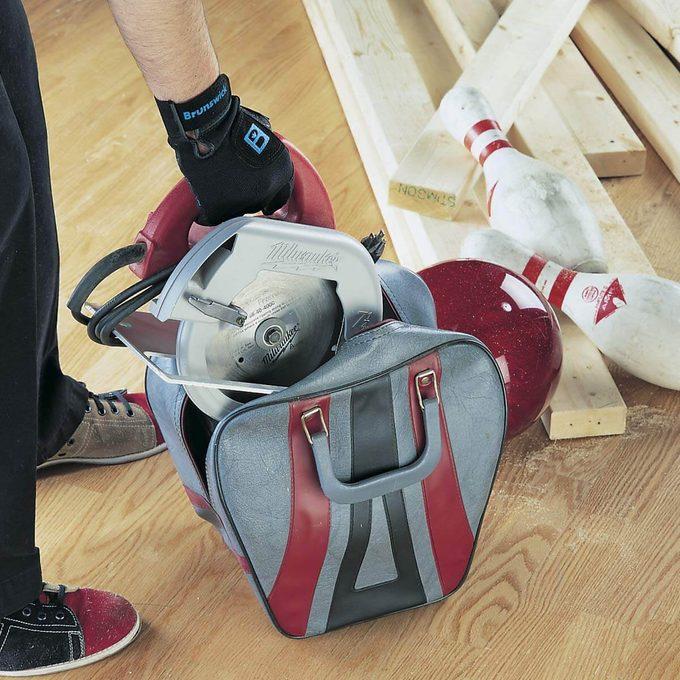 bowling ball bag for tool storage