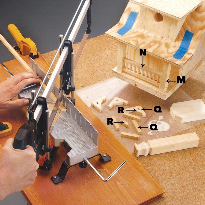 add the decorative brackets birdhouse