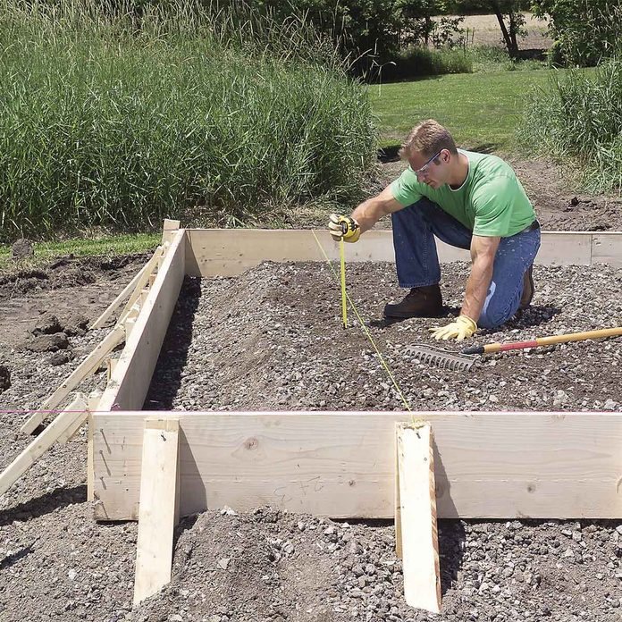 fill forms with gravel for concrete slab base