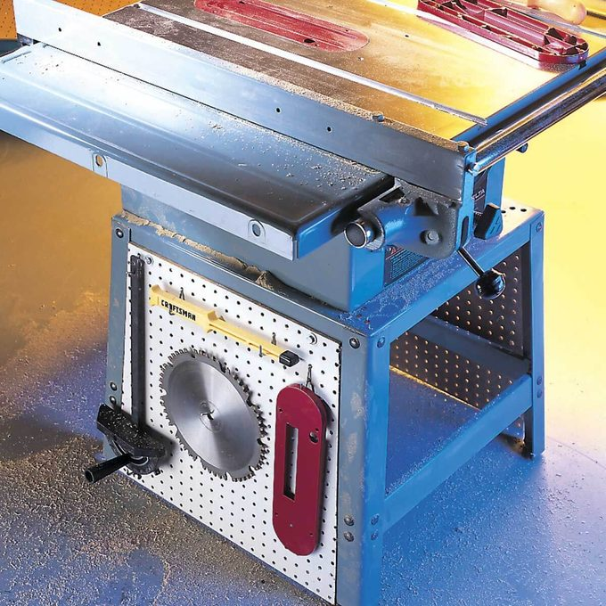 pegboard table saw onboard storage