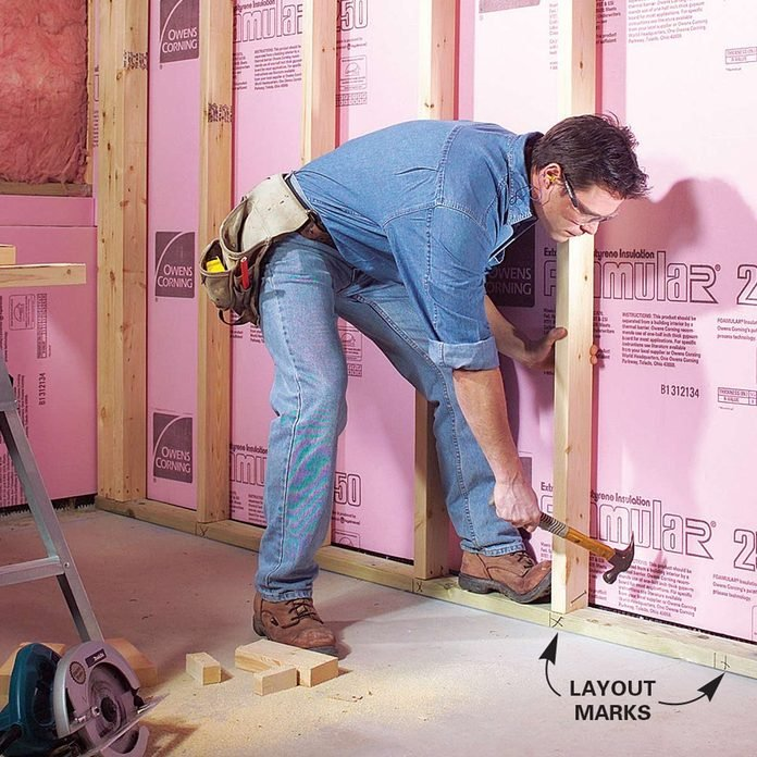 Finishing a Basement - Install the Studs