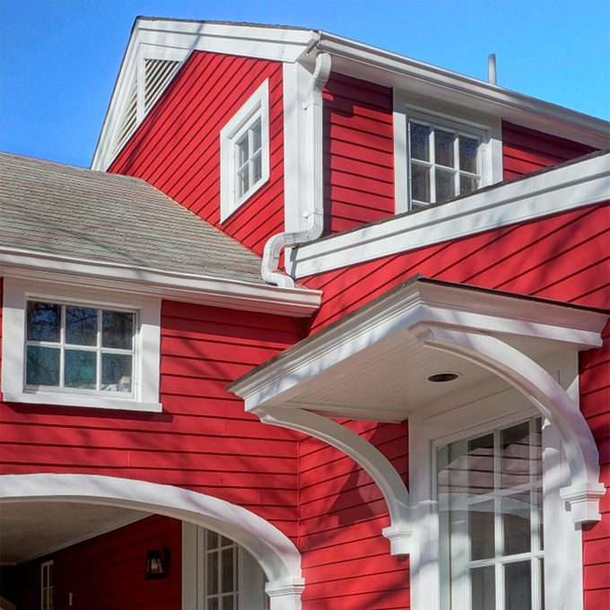 finished painted red house