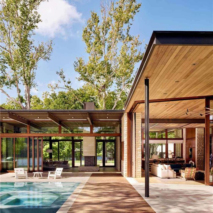 mid-century modern home with glass