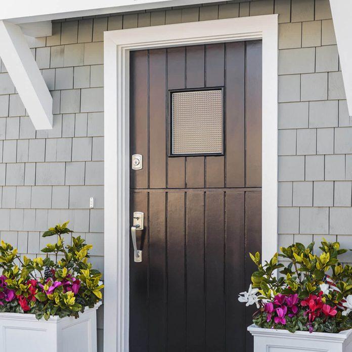 Black Front Door with Planters