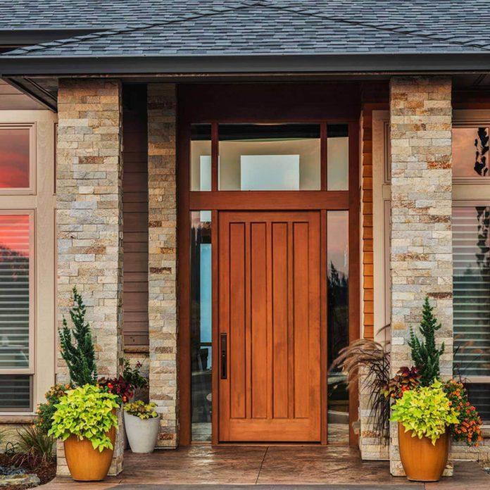 Brick with wood front doors