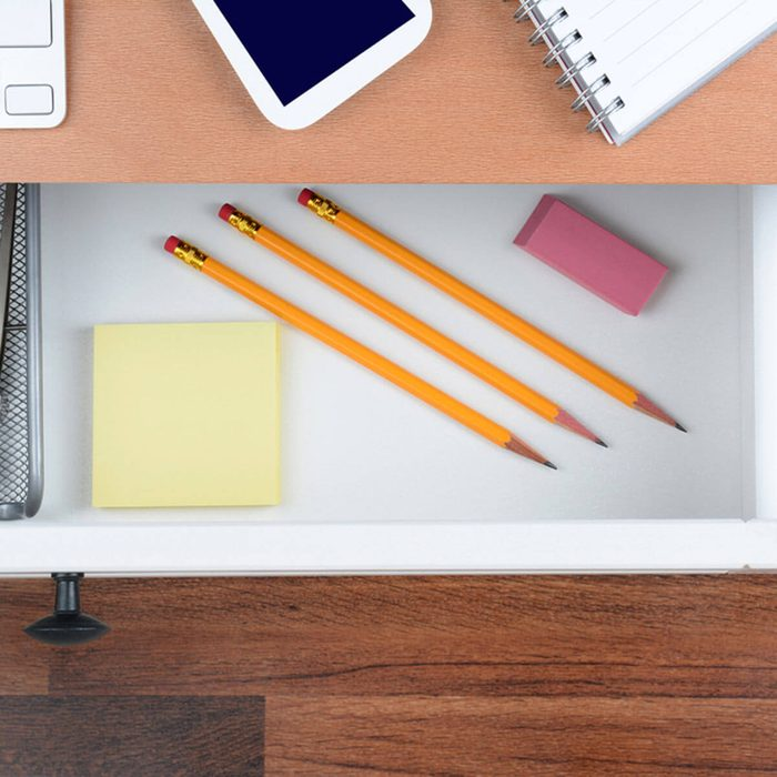 office desk drawers pencils