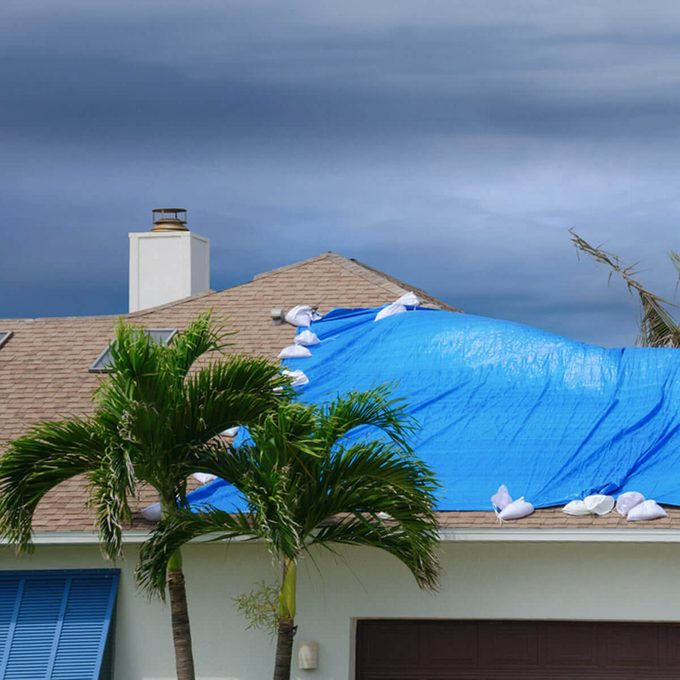 House roof protection during storm