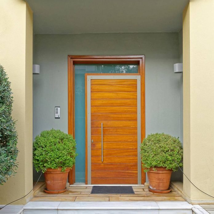Modern Wood Front Door with Frosted Glass