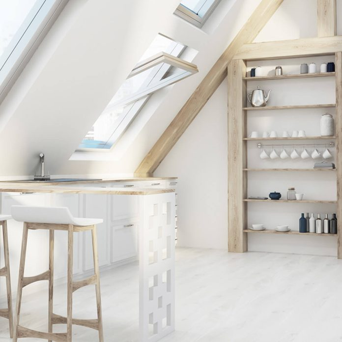 finish attic vaulted ceiling kitchen