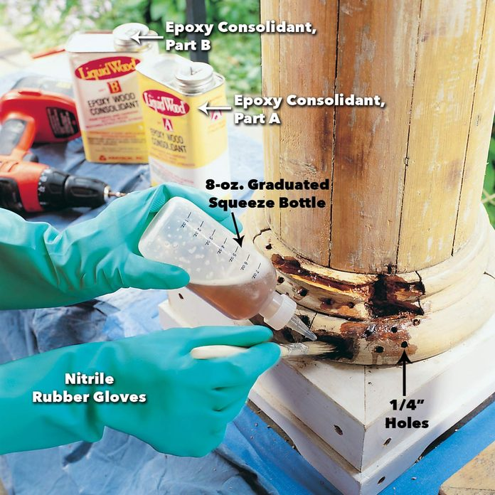 Apply consolidant to rotted wood