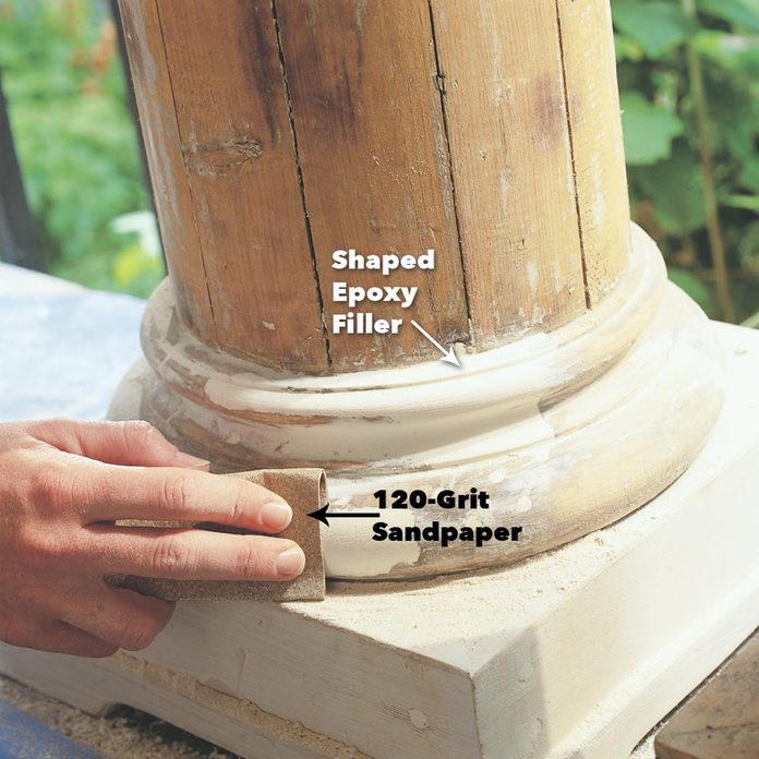 fine tune and smooth wood epoxy with sandpaper