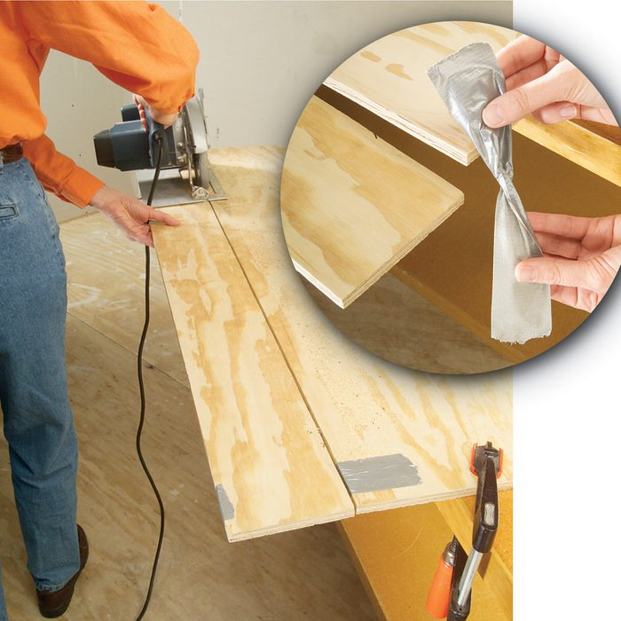 duct tape plywood cutting
