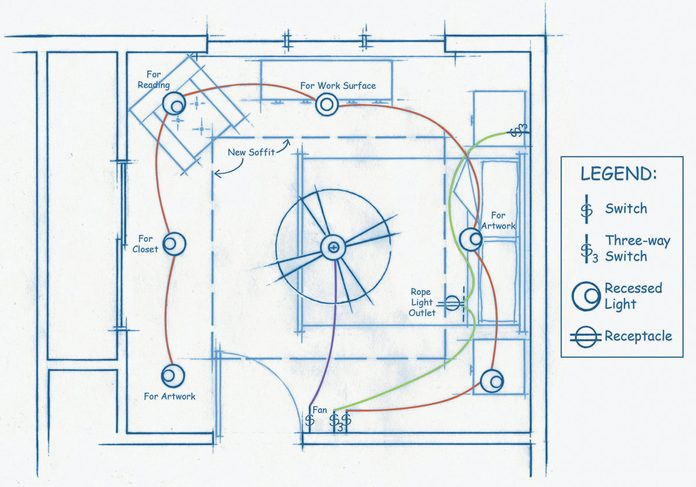 Soffit Box with Recessed Lighting planning the wiring