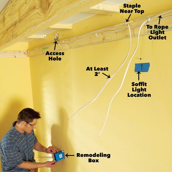 install wiring soffit box lighting
