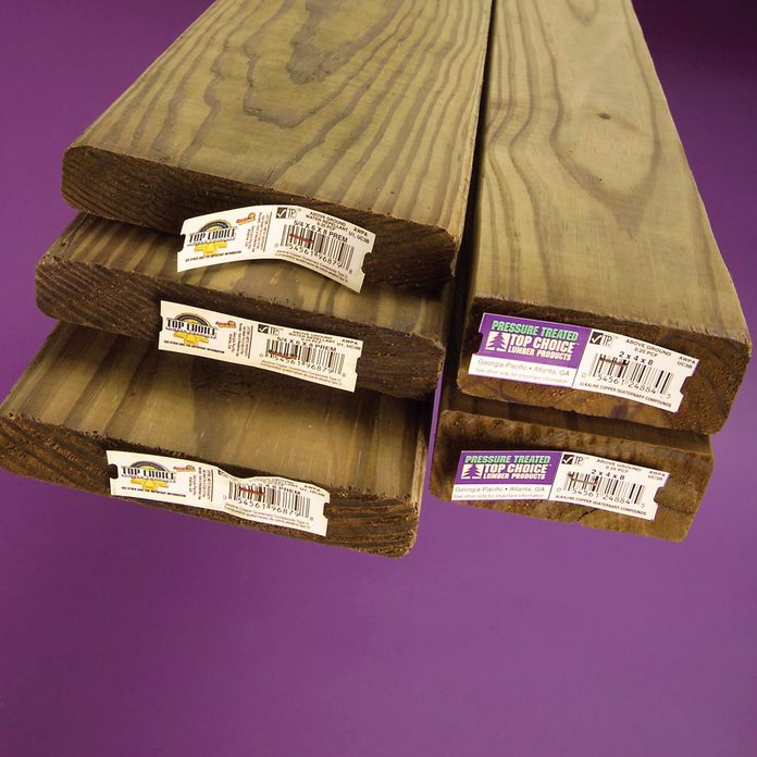 green treated pressure treated wood lumber