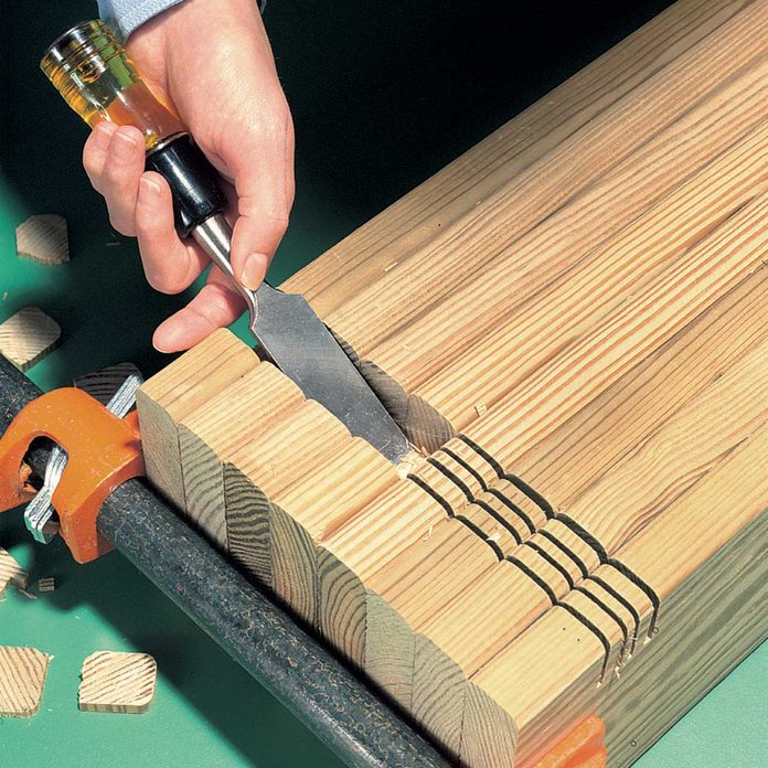 compost bin remove wood notches with chisel