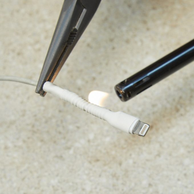 HH phone charger heat shrink tubing pen spring hack