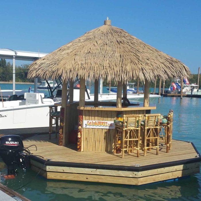 floating tiki bar on water