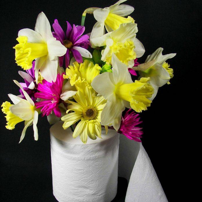 toilet paper roll flower holder