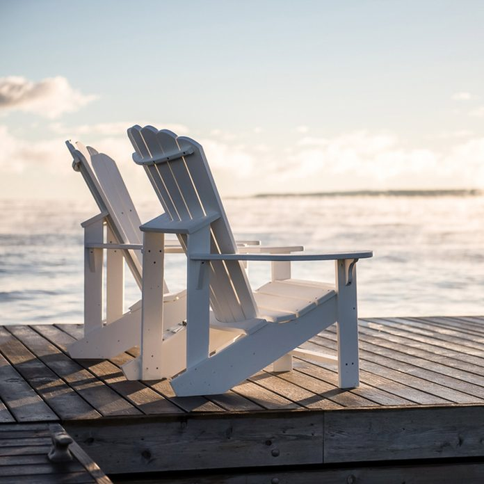 adirondack chairs sunset