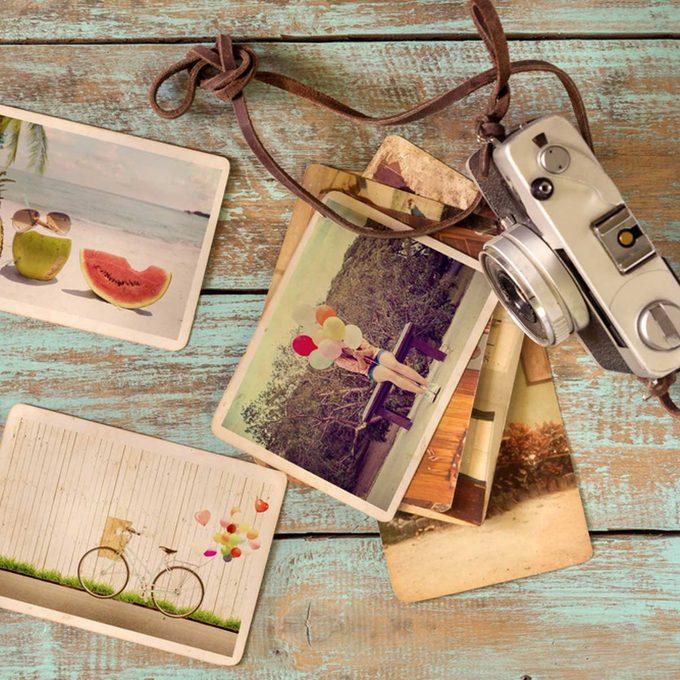 Old print photos vintage camera polaroids