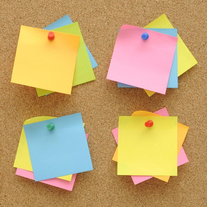 post-it notes cork board
