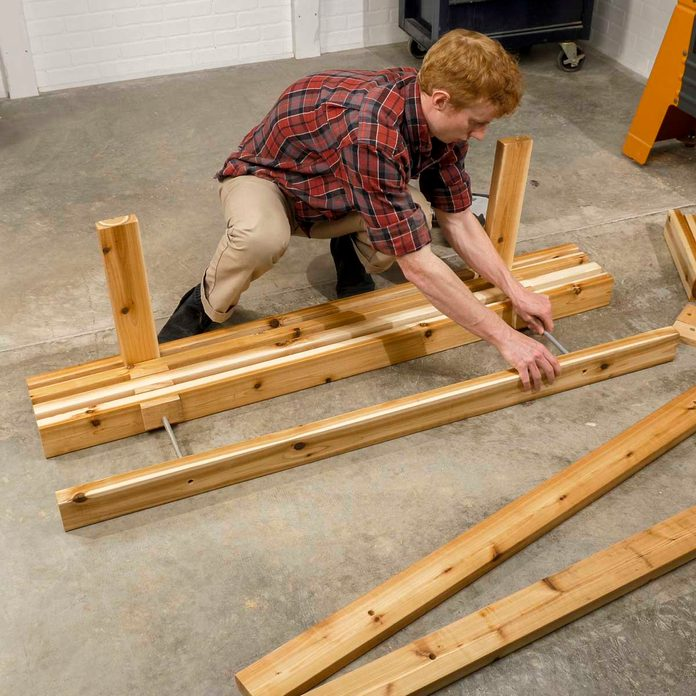 Trestle bench put together the seat assembly