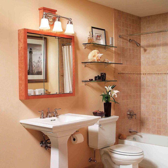 bathroom shelving after