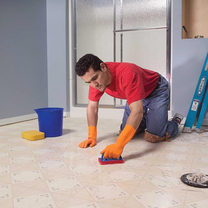bathroom vinyl floor cleaning outdated before