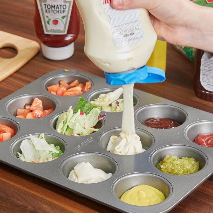 HH kitchen condiments lettuce tomato muffin tin bbq