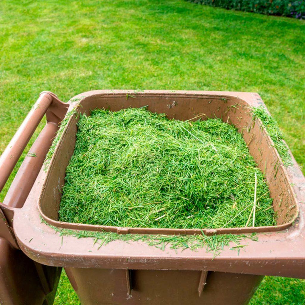 bin of grass clippings