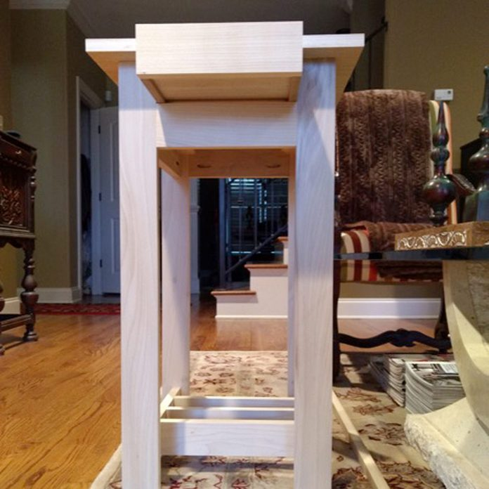 side view arts and craft end table