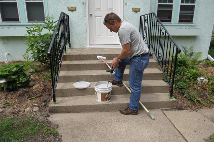 prepping concrete stairs