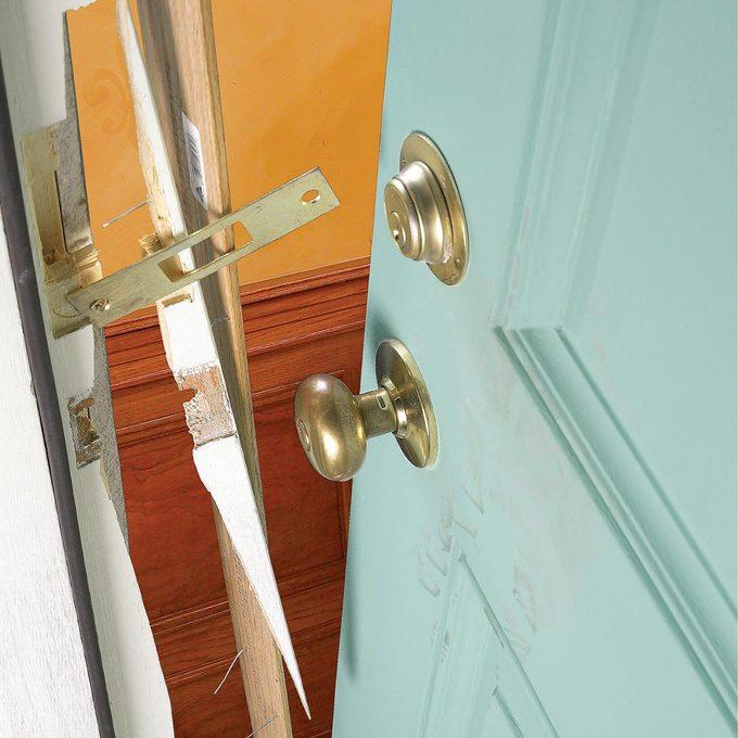 crooks burglars broken in door