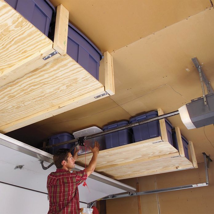plywood garage ceiling shelves