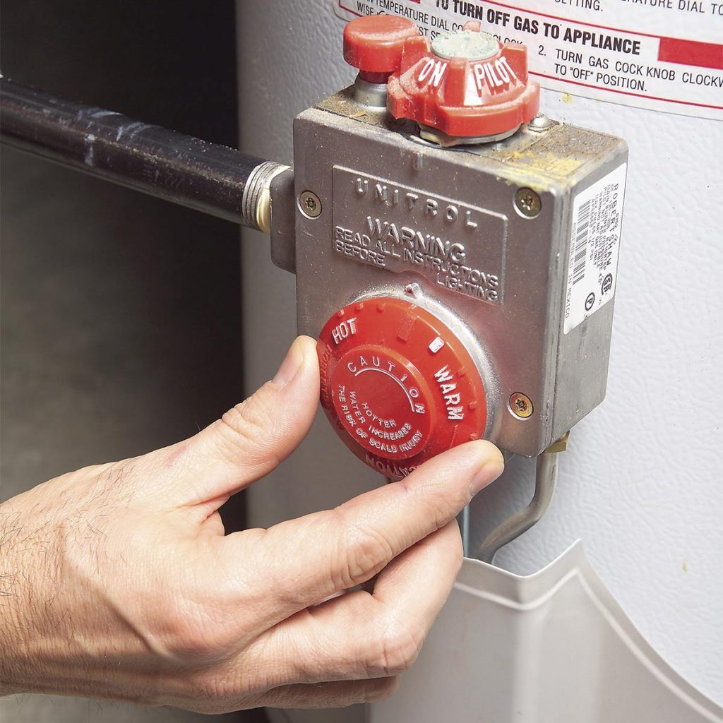turning down water heater