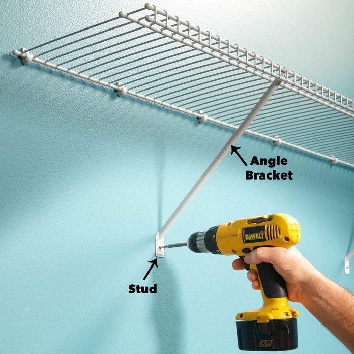 Angle bracket wire shelving