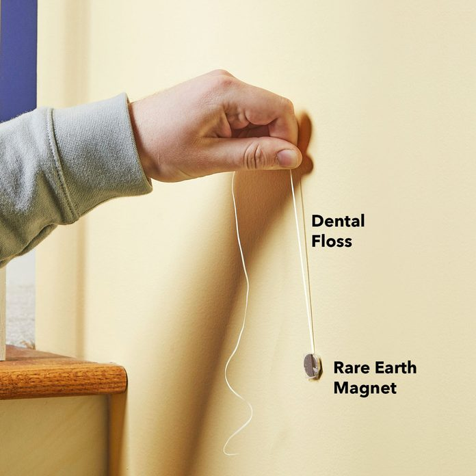 locate studs dental floss magnet