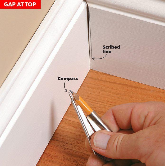 baseboard gap at top scribe and trim