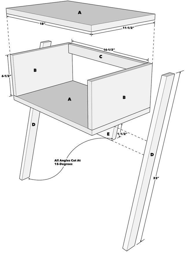Cantilever End Table Tech Art