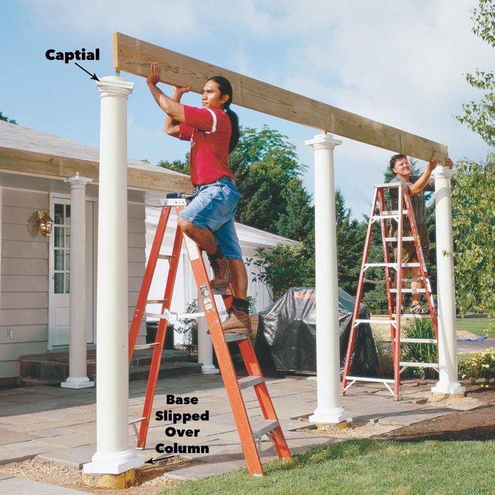 set the beam over the columns pergola